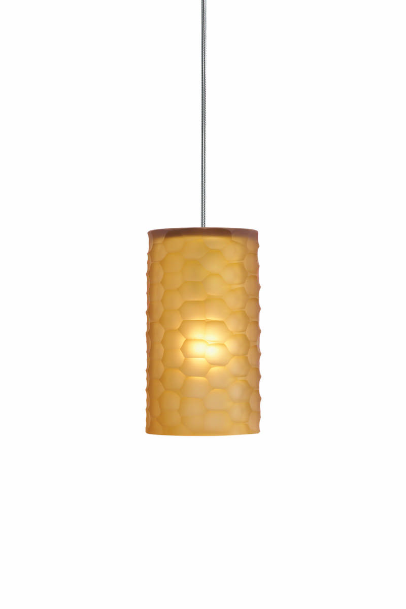 2 Thousand Degrees 700TDEDGP Amber Edge Art Deco Retro Single Light Mini Pendant from the Edge Collection 700TDEDGP