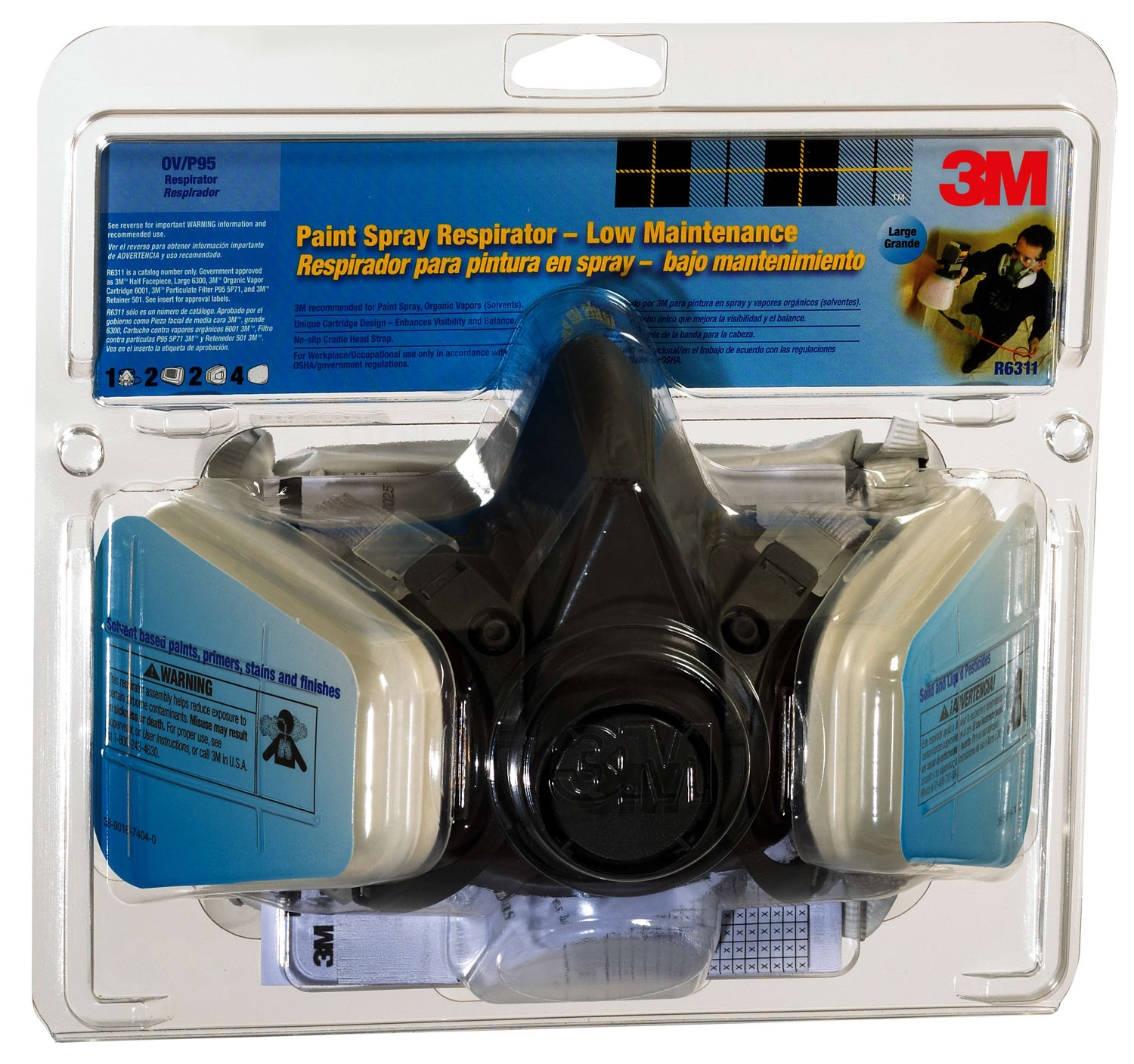 3M 27530898 NA Large Half Facepiece Paint Spray and Pesticide Respirator 6311 PA1 A