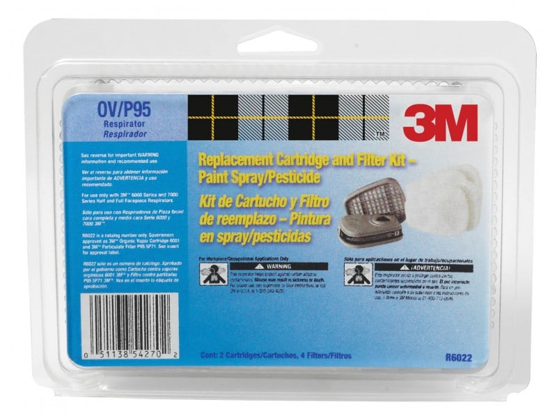 3M 27531029 NA Replacement Organic Vapor Cartridge and Filter 6022PA1 A