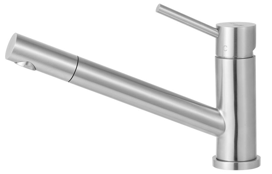 ALFI brand AB2025 Brushed Nickel Kitchen Faucet with Pull Out Spray and Single Handle - Solid Stainless Steel AB2025