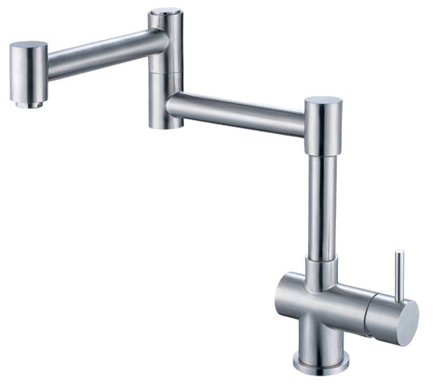 ALFI brand AB2038 Brushed Nickel Kitchen Faucet with Fully Retractable Design Single Handle - Solid Stainless Steel AB2038