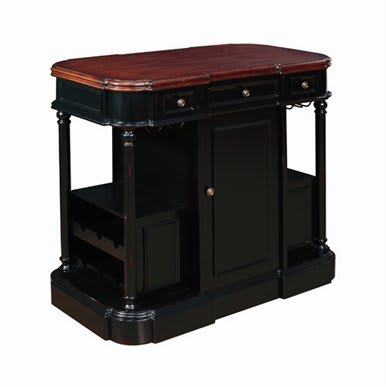 Belle Foret BF80175 Black Rubbed Traditional / Classic 47-Inch Kitchen Island with 3 Drawers, Wine Rack, and Cabinet Hardware 80175