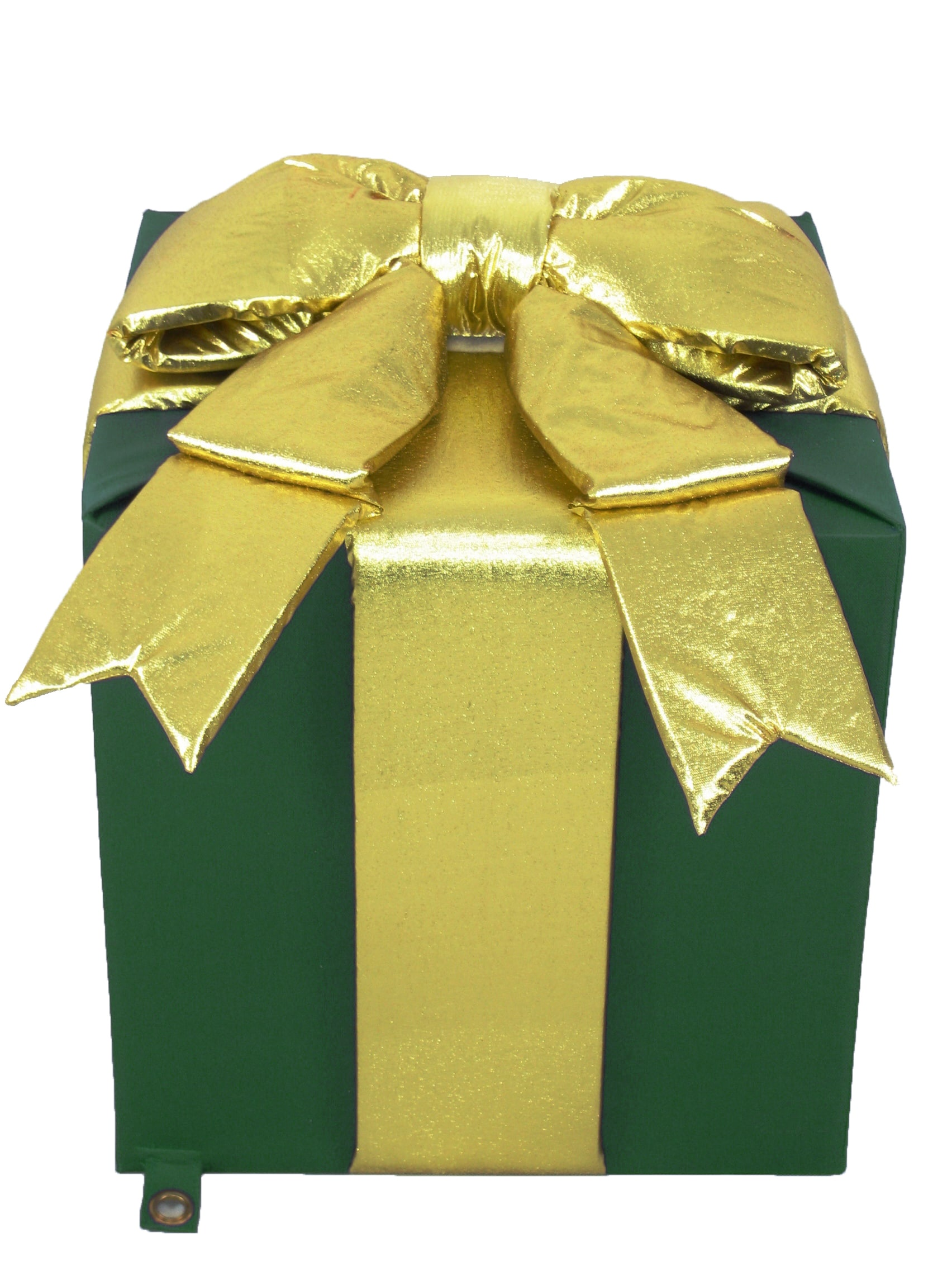 Christmas at Winterland WL-GIFT-18-GR Green / Gold Gift Boxes 18 Inch Fabric Giant Green Gift Box with Gold Bow Indoor / Outdoor WL-GIFT-18-GR