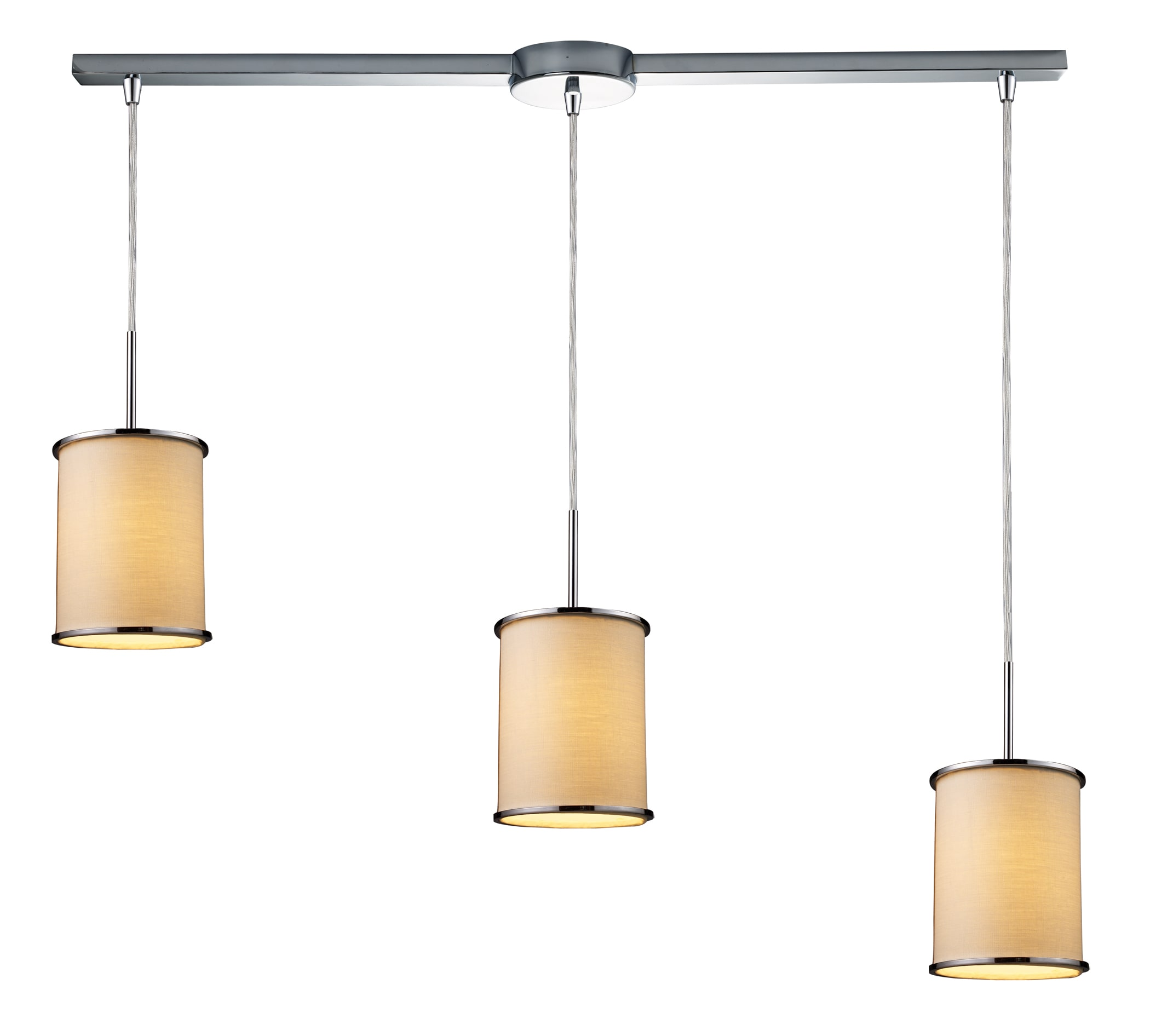 Elk Lighting 20055/3L Polished Chrome Fabrique 3 Light Linear Pendant Ceiling Fixture from the Fabrique Collection 20055/3L