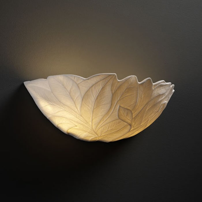 Justice Design Group POR-8801-LEAF Porcelain Bisque Limoges Limoges Leaves Porcelain Bisque Wall Sconce from the Limoges Collection POR-8801