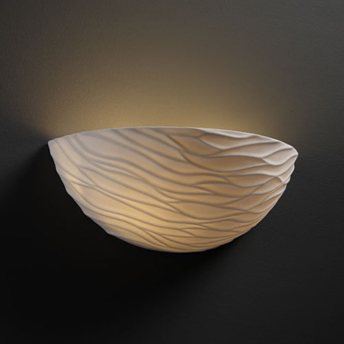 Justice Design Group POR-8802-WAVE Porcelain Bisque Limoges Limoges Waves Porcelain Bisque Wall Sconce from the Limoges Collection POR-8802