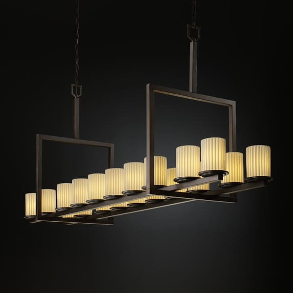 Justice Design Group POR-8717-WFAL-DBRZ Dark Bronze with Waterfall Shades Limoges Dakota 20 Light Bridge Chandelier from the Limoges Collection POR-8717