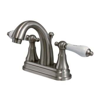 Kingston Brass KS761.PL Double Handle Bathroom Faucet with Porcelain Lever Handles