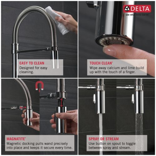 Delta 9659 Dst Trinsic Pro Pre Rinse Pull Down Kitchen Faucet With Magnetic Dock