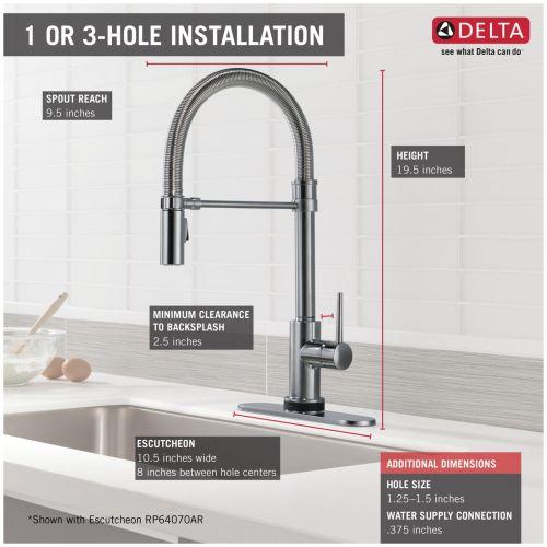 Delta 9659t Ar Dst Trinsic Pro Pre Rinse Pull Down Kitchen