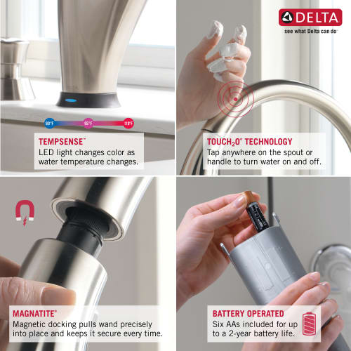 Delta 9159t Bl Dst Pull Down Kitchen Faucet Touch Activated Magnetic Spray Dock Ebay