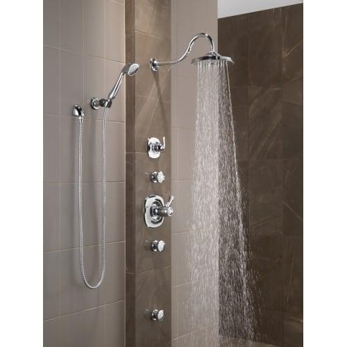 Delta t17t092 cz thermostatic valve trim pack w volume control less valve ebay for Delta bathroom shower systems