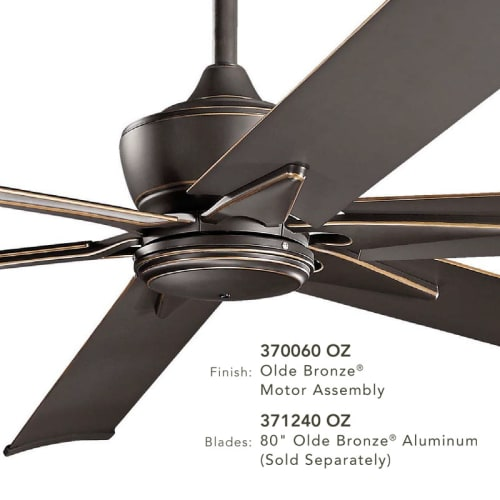 """High Quality Ceiling Fan With Remote Control Special: Kichler 370060SBK 52"""", 60"""" Or 80"""" Outdoor Ceiling Fan W"""
