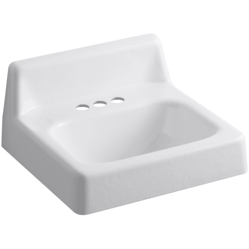 kohler k 2867 white hudson 20 cast iron wall mounted bathroom sink with 3. Black Bedroom Furniture Sets. Home Design Ideas