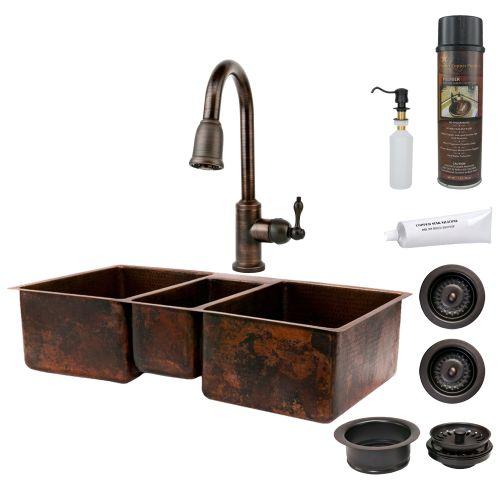 Premier Copper Products KSP2_KTDB422210 42 Triple Basin Undermount Kitchen Sink