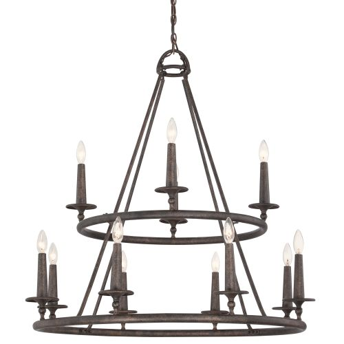 Quoizel VYR5012ML Voyager 12 Light 2 Tier Candle Style Chandelier Malaga