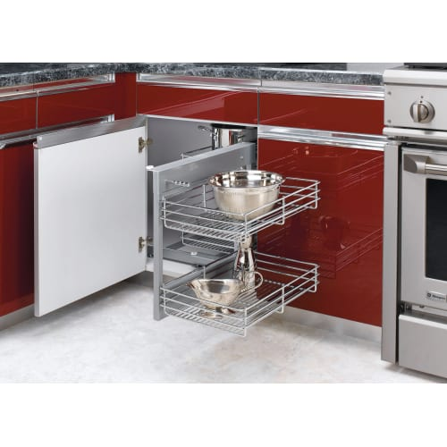 Blind Corner Kitchen Cabinet: Rev-A-Shelf 5PSP-15 Chrome 5PSP Series Chrome Blind Corner