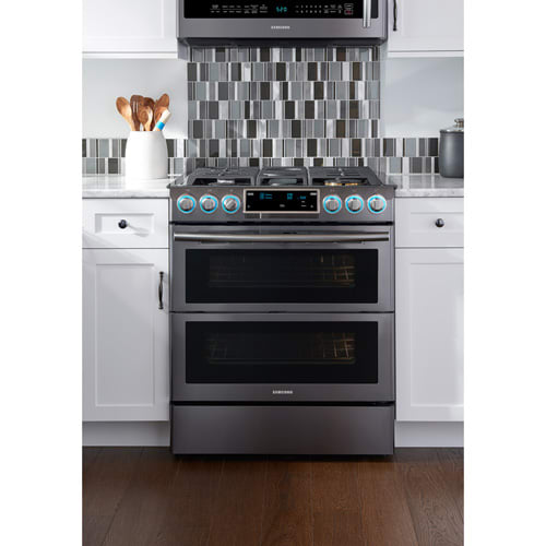 samsung nx58k9850sg 30 inch wide 5 8 cu ft slide in gas range with dual doors ebay. Black Bedroom Furniture Sets. Home Design Ideas