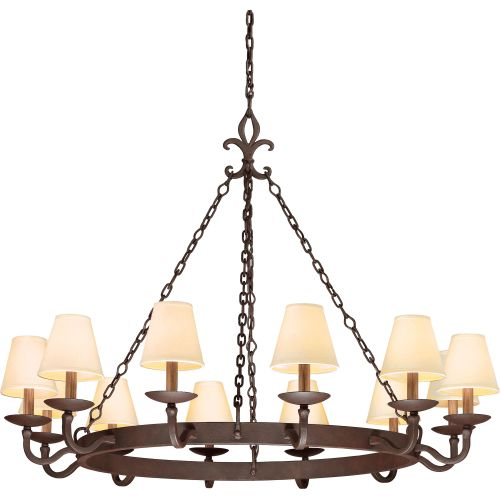 Troy Lighting F2716 Lyon 12 Light Chandelier with Fabric Shades