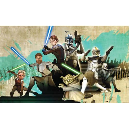 York Wallcoverings JL1215M RoomMates Star Wars Clone Wars Chair Rail Prepasted M