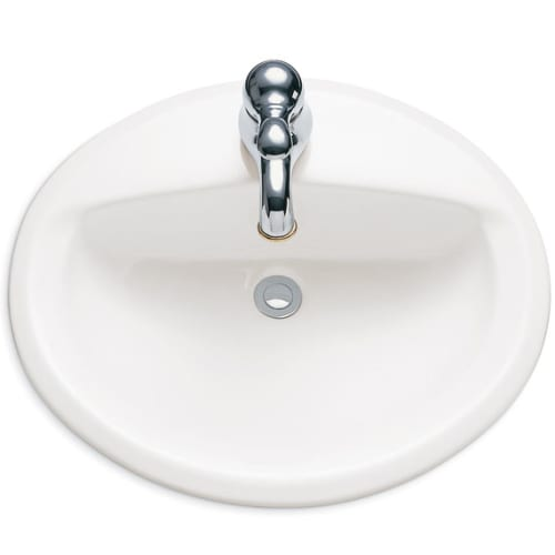 American Standard 0476.037.020 White Aqualyn Aqualyn Drop In Bathroom Sink with 4
