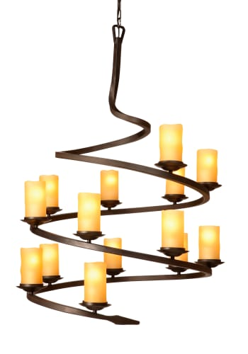 Artcraft Lighting AC1711AM Oiled Bronze Candlelight 14 Light Spiral Chandelier with Amber Glass from the Candlelight Collection AC1711AM