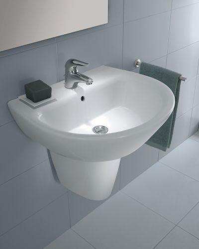 Wide Base Pedestal Sink : Bissonnet 28432 White Universal Universal Jazz Semi-Pedestal 28432