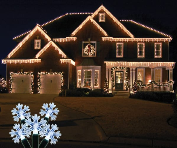 Christmas at Winterland S-ICSNPW-IW Pure White Holiday Icicle Lights Standard Icicle Lights LED Pure White Snowflakes 70 Lights White Wire 22 Gauge S-ICSNPW-IW