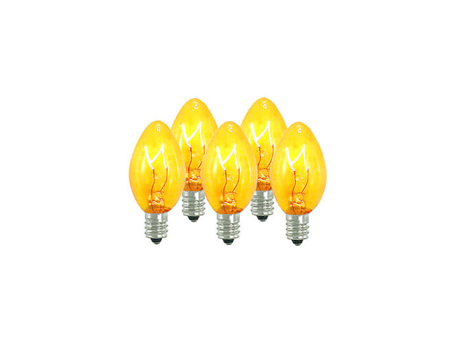 Christmas at Winterland WL-C7-Y Yellow / Gold Incandescent Replacement Bulbs 25 Pack of Yellow / Gold Dimmable C7 E12 Base Incandescent Replacement Bulbs Indoor