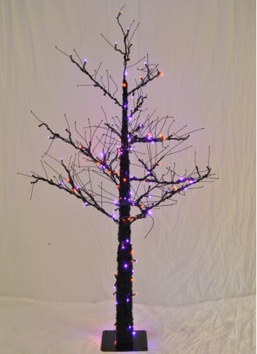 Christmas at Winterland WL-DTR-4.5-LPU/OR Purple / Orange Small Christmas Trees 4.5 Foot Pre-Lit Halloween Tree with Purple and Orange LED Lights Indoor / Outdo