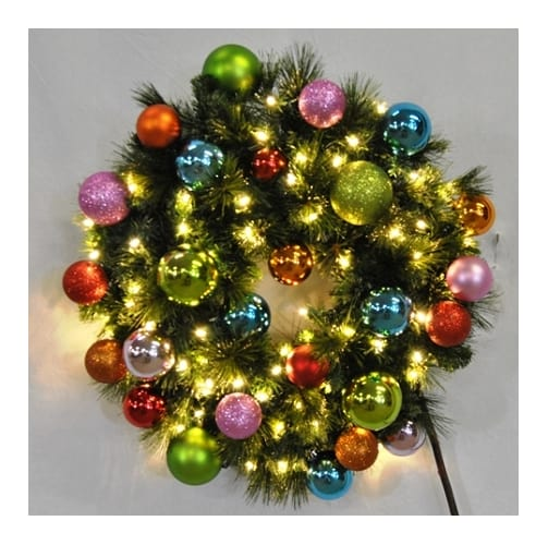 Christmas at Winterland WL-GWBM-05-TROP-LWW Warm White Natural Holiday Wreaths 5 Foot Pre-Lit Warm White Blended Pine Wreath Decorated with Tropical Ornaments I