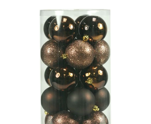 Christmas at Winterland WL-ORNTUBE-100-BR Brown Holiday Balls 50 Pack Of 4 Inch Plastic Shatterproof Brown Ball Ornaments WL-ORNTUBE-100-BR