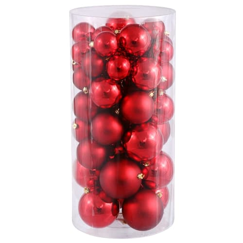 Christmas at Winterland WL-ORNTUBE-100-RE Red Holiday Balls 50 Pack Of 4 Inch Plastic Shatterproof Red Ball Ornaments WL-ORNTUBE-100-RE
