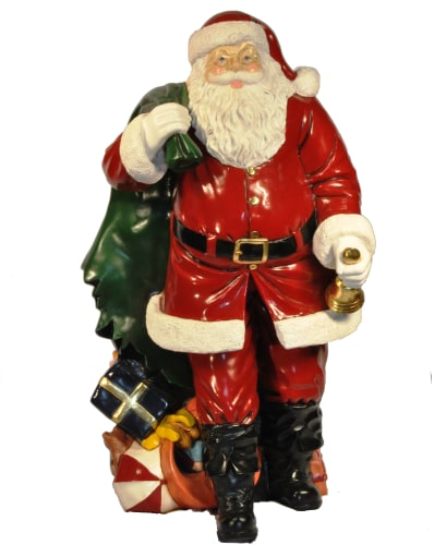 Christmas at Winterland WL-SANTA-05-TOYBAG Multicolor Santa 60 Inch Life Size Santa Holding Belly with Gift WL-SANTA-05-TOYBAG