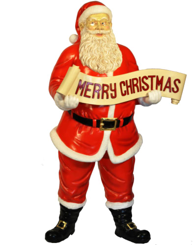 Christmas at Winterland WL-SANTA-58-SIGN Multicolor Santa 58 Inch Life Size Santa with Merry Christmas Sign WL-SANTA-58-SIGN