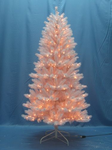 Christmas at Winterland WL-TR-7.5-WH-LWW Warm White Pre-Lit Christmas Trees 7.5 Foot Classic White Pre-Lit Christmas Tree with Warm White Lights and Metal Stand