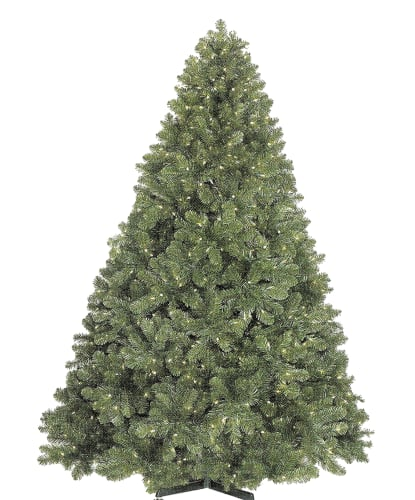 Christmas at Winterland WL-TRNAT-06-LWW Warm White Pre-Lit Christmas Trees 6 Foot Natural Looking Pre-Lit Christmas Tree with Warm White Lights and Metal Stand