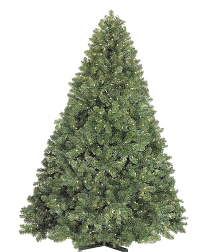 Christmas at Winterland WL-TRSQ-07.5-LWW Warm White Pre-Lit Christmas Trees 7.5 Foot Classic Sequoia Pre-Lit Christmas Tree with 900 Warm White Lights and Metal