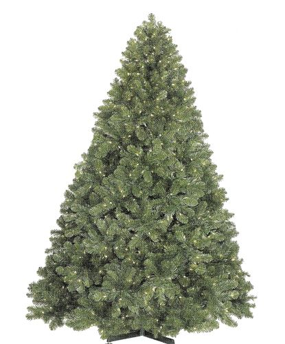 Christmas at Winterland WL-TRSQ-09-LWW Warm White Pre-Lit Christmas Trees 9 Foot Classic Sequoia Pre-Lit Christmas Tree with 2000 Warm White Lights and Metal St