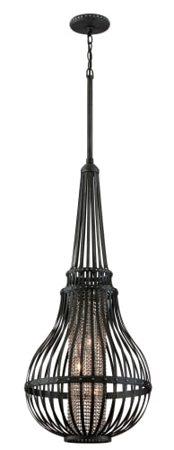 Corbett Lighting 137-43 Old Pewter Oasis Traditional / Classic 3 Light Oval Caged Pendant with Silver Accents and Beaded Chain from the Oasis Collection 137-43