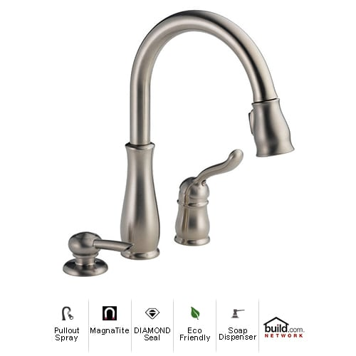 Delta 978-SSSD-DST Stainless Steel Leland Leland Pullout Spray Kitchen Faucet with MagnaTite Docking, Diamond Seal and Touch Clean Technologies - Includes Soap