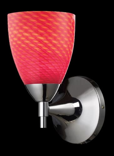Elk Lighting 10150/1PC-SC Polished Chrome / Scarlet Red Glass Celina Single Light Wallchiere from the Celina Collection 10150/1