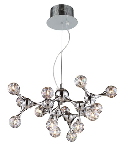 Elk Lighting 30025/15 Polished Chrome Molecular Fifteen Light Chandelier from the Molecular Collection 30025/15