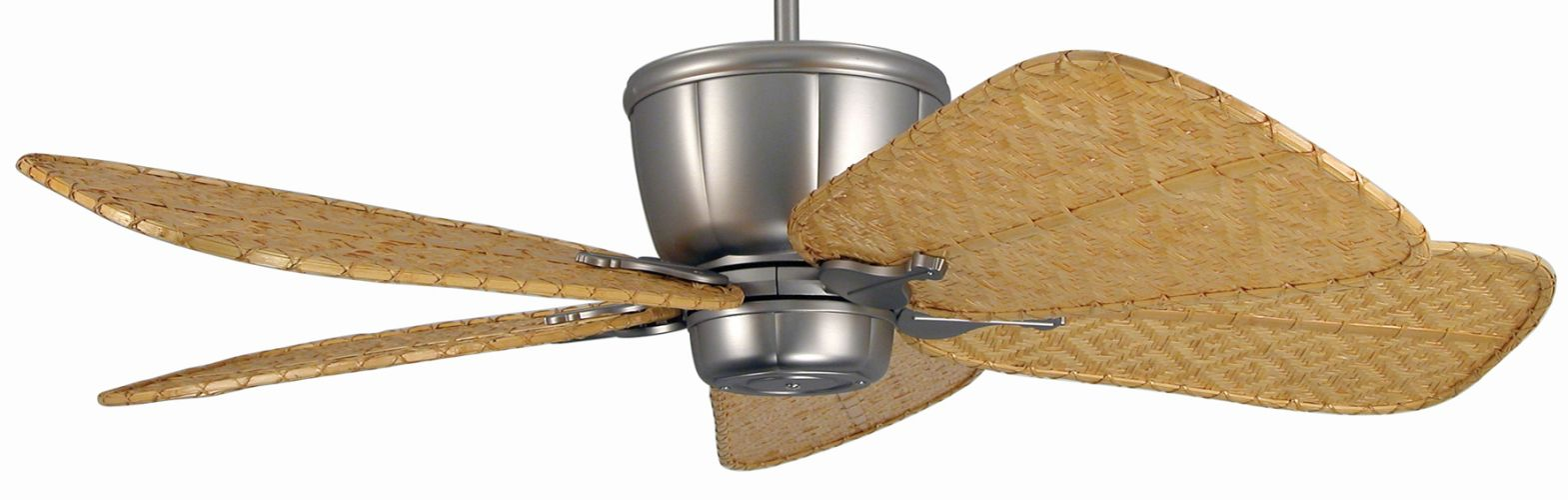 Fanimation Fp1820sn Isd7c Satin Nickel With Bamboo Blades Sandella 5 Blade 52 Ceiling Fan Uplight Handheld Remote And Wall Controller