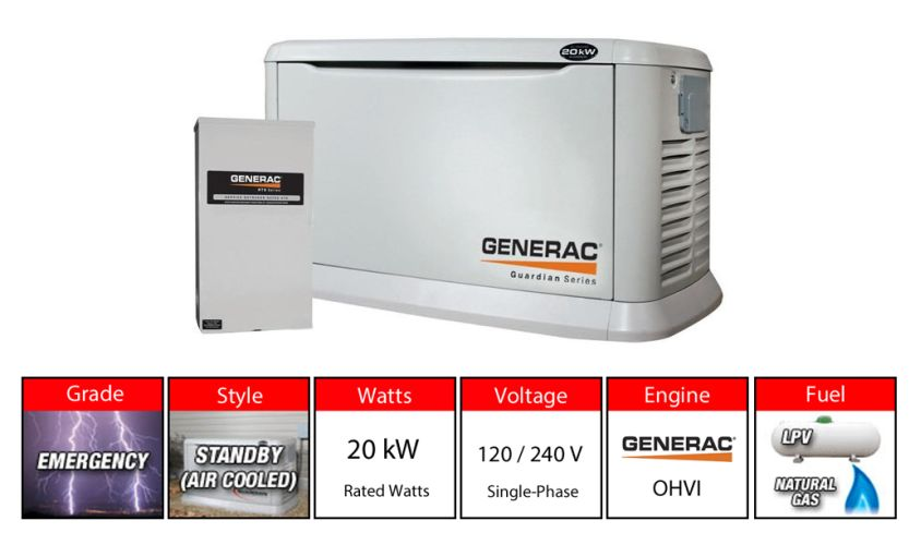Generac 6244 20kw Aluminum Standby Generator System 200a Manual Guide