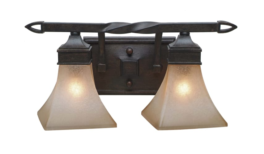 Golden Lighting 1850-BA2 RT Roan Timber Genesis Wrought Iron Two Light Bathroom Fixture from the Genesis Collection 1850-BA2