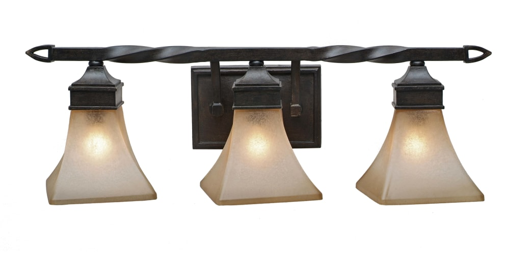 Golden Lighting 1850-BA3 RT Roan Timber Genesis Wrought Iron Three Light Bathroom Fixture from the Genesis Collection 1850-BA3