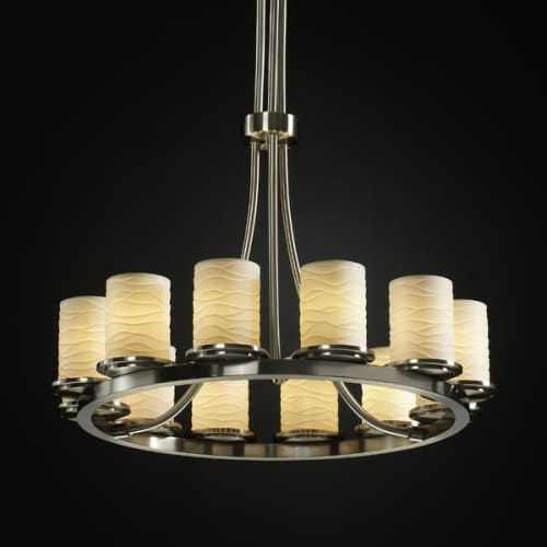 Justice Design Group POR-8763-NCKL Brushed Nickel Limoges Dakota 12 Light Tall Ring Chandelier from the Limoges Collection POR-8763