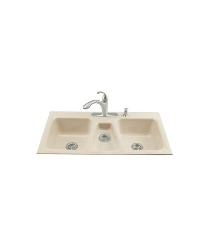 KOHLER Trieste Triple Basin Tile In Enameled Cast Iron Kitchen Sink  5893 4 47 Product Features: Triple Basin Sink With A 37/26/37 Split  Provides Increased ...