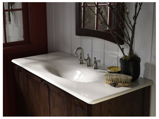 Kohler Impressions Cane Sugar Cast Iron Topmount Rectangular Bathroom Sink 3053 8 Fd